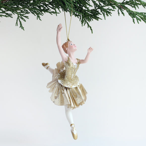 Ballerina Ornament (Gold with Arms in Fourth)