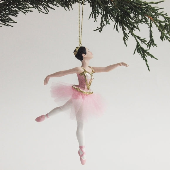 Ballerina Ornament (Pink arabesque)