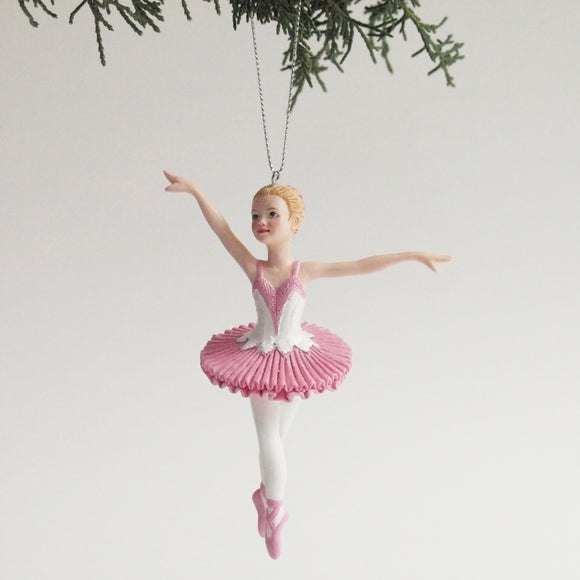 Ballerina Ornament (Pink and white)