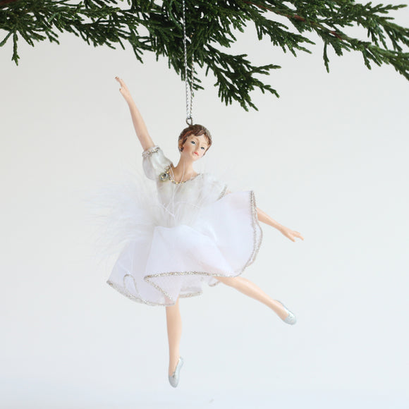 Ballerina Ornament (White/Silver Feathers - Right Arm Up)