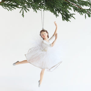 Ballerina Ornament (White/Silver Feathers - Left Arm Up)