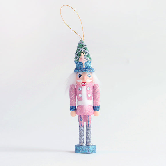 Nutcracker Glitter Ornament (pink and blue)