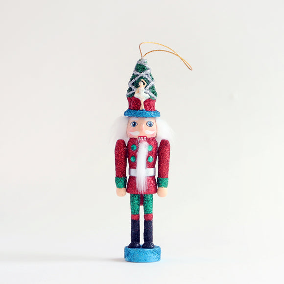 Nutcracker Glitter Ornament (red and blue)