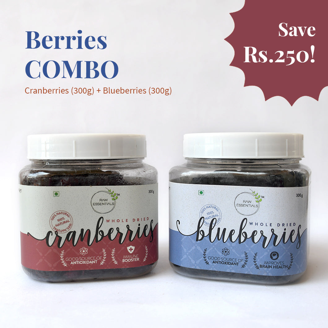 Dried Blueberries and Dried Cranberries Combo ( 300 g each)