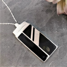 Load image into Gallery viewer, Art Deco Pendant Black Rectangular