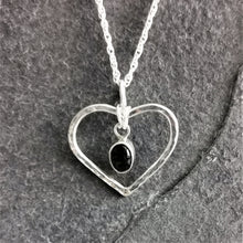 Load image into Gallery viewer, Black Onyx and Hammered Silver Heart