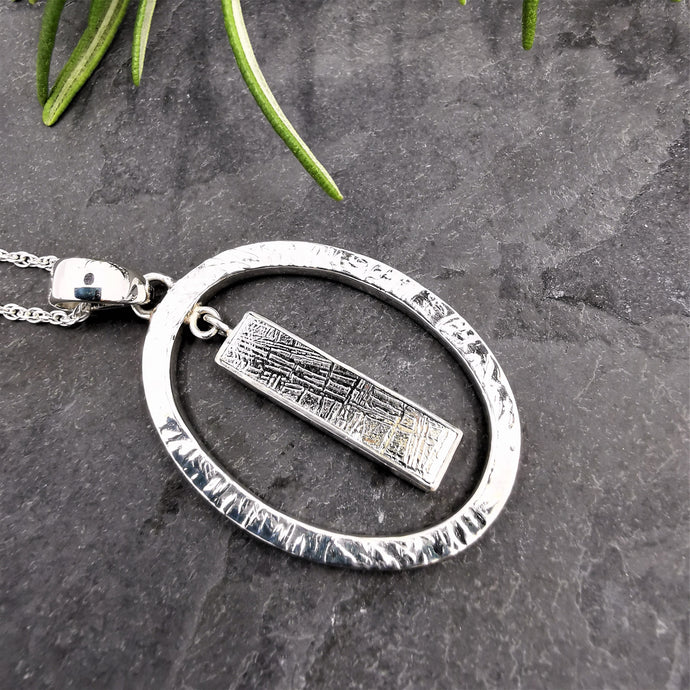 Meteorite and Solid Silver Oval Pendant