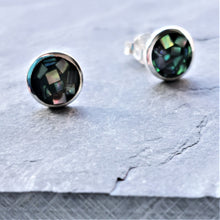 Load image into Gallery viewer, Paua Shell Mosaic Stud Earrings Sterling Silver