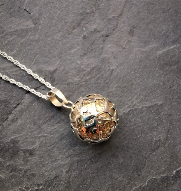 Small Silver and Brass Harmony Ball Pendant