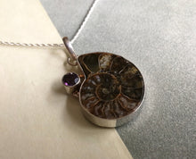 Load image into Gallery viewer, Ammonite and Amethyst Pendant