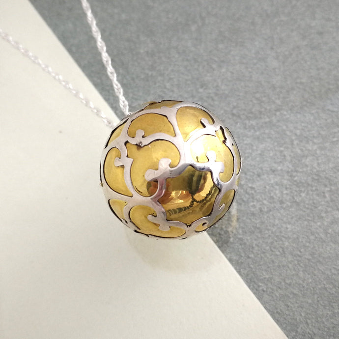 Large Silver and Brass Harmony Ball Pendant