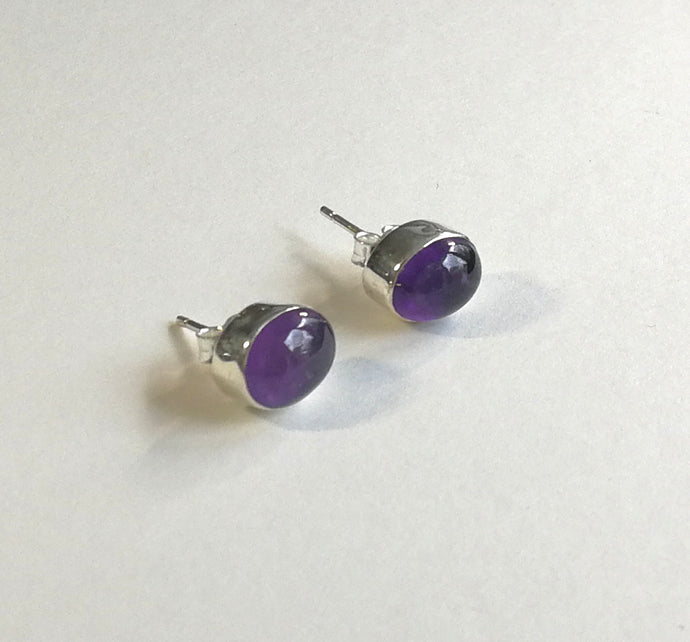 Amethyst Oval Sterling Silver Earrings