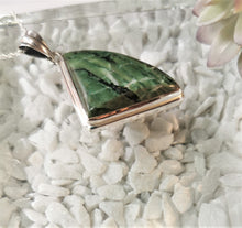 Load image into Gallery viewer, Green Banded Agate and Sterling Silver Triangular Pendant