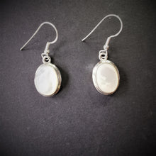Load image into Gallery viewer, Mother of Pearl Oval Double Bezel Sterling Silver Earrings