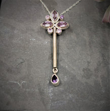 Load image into Gallery viewer, Amethyst and Sterling Silver Flower Pendant