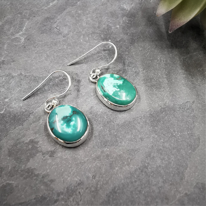 Turquoise Oval Sterling Silver Drop Earrings