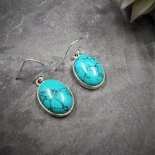 Load image into Gallery viewer, Turquoise Sterling Silver Drop Earrings Medium