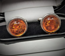 Load image into Gallery viewer, Amber and Silver Cufflinks