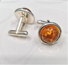 Load image into Gallery viewer, Amber and Solid Sterling Silver Round Cufflinks