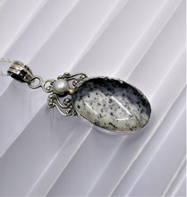Load image into Gallery viewer, Dendritic Agate and Pearl in Sterling Silver Pendant