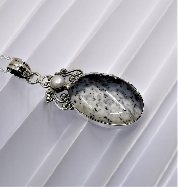 Dendritic Agate and Pearl in Sterling Silver Pendant