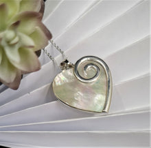 Load image into Gallery viewer, Mother of Pearl Heart Pendant set in Solid Sterling Silver