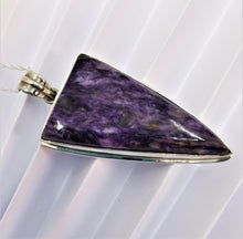 Load image into Gallery viewer, Charoite and Sterling Silver Pendant Large
