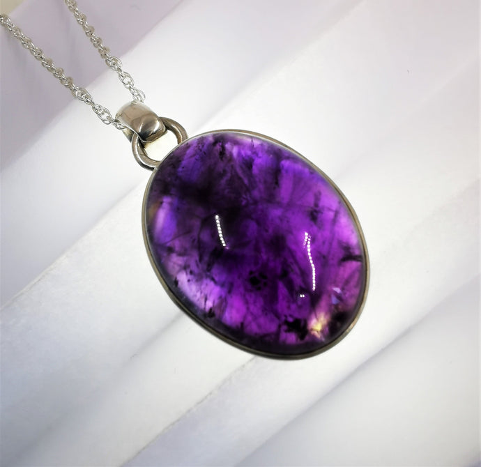Amethyst and Sterling Silver Oval Pendant