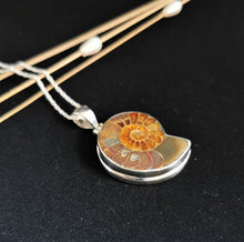 Load image into Gallery viewer, Ammonite Pendant Double Bezel Medium