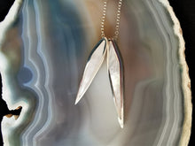 Load image into Gallery viewer, Mother of Pearl Double Leaf Pendant set in Solid Sterling Silver