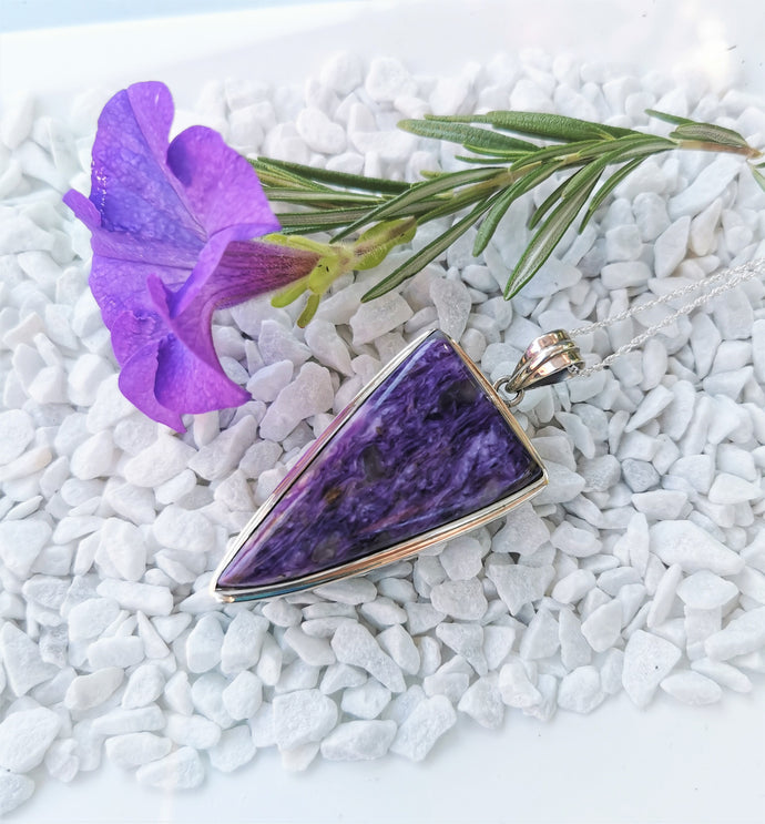 Charoite and Sterling Silver Pendant Large