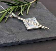 Load image into Gallery viewer, Mother of Pearl Art Deco Diamond Shaped Pendant set in Solid Sterling Silver