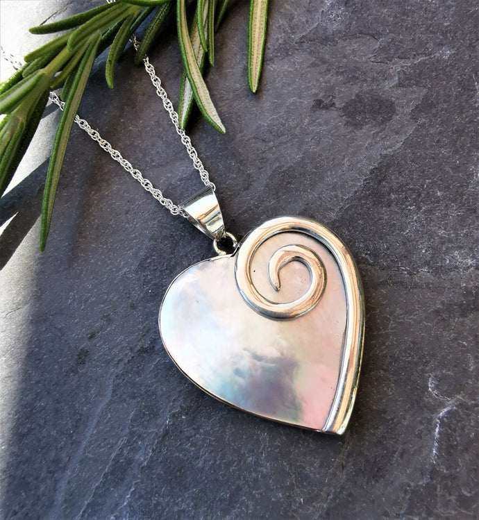 Mother of Pearl Heart Pendant set in Solid Sterling Silver