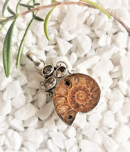Load image into Gallery viewer, Ammonite and Crystal Sterling Silver Pendant