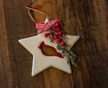 Load image into Gallery viewer, Red and White Star Christmas Ornament with a Cardinal Bird and Florals