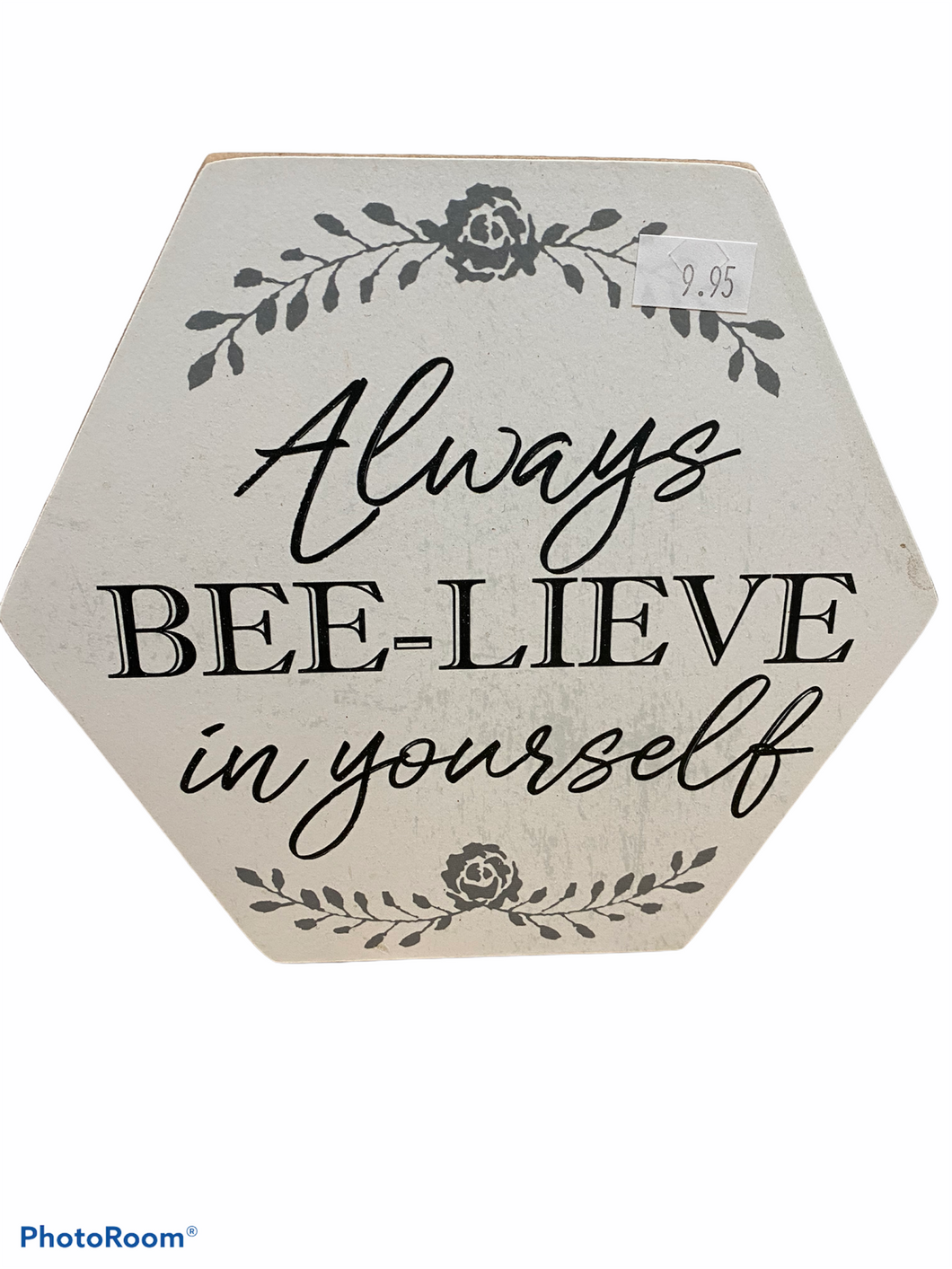 Bee-Lieve in Yourself Honeycomb Box Sign Home Decor