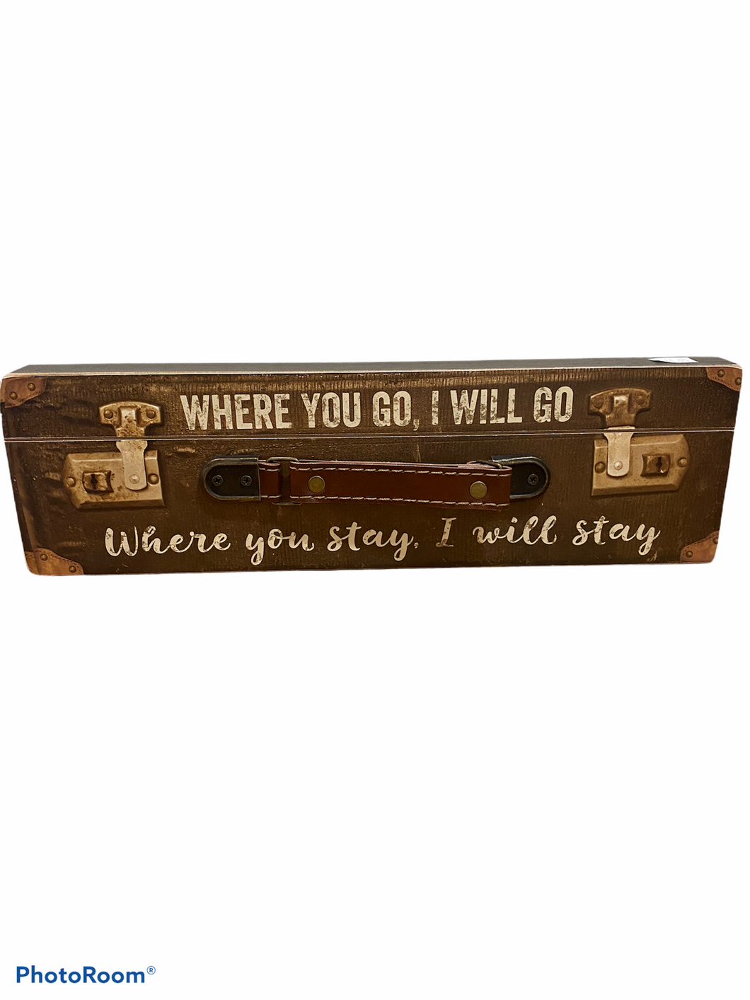 Where You Go, I Will Go Wood Suitcase Travel Sign