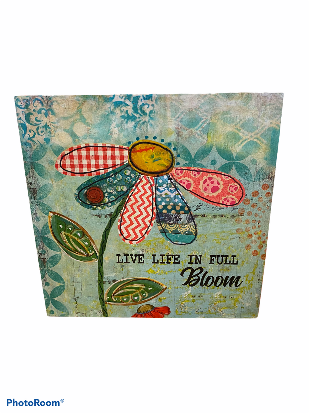Live Life in Full Bloom Block Sign Home Decor