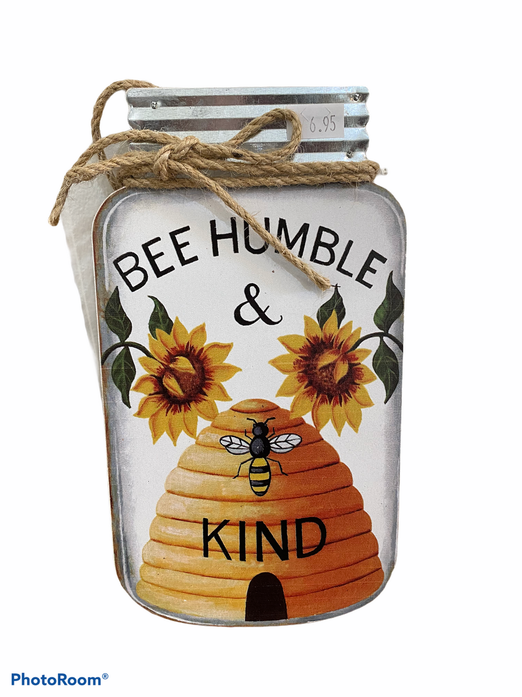 Bee Humble Sunflower Jar Sign Home Decor