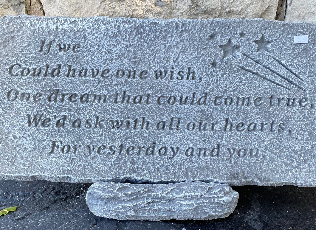 One Wish Cement Memorial Plaque