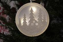 Load image into Gallery viewer, Light-Up House and Trees White Glitter Christmas Ornament