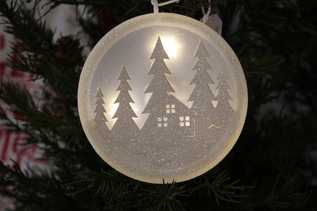 Light-Up House and Trees White Glitter Christmas Ornament