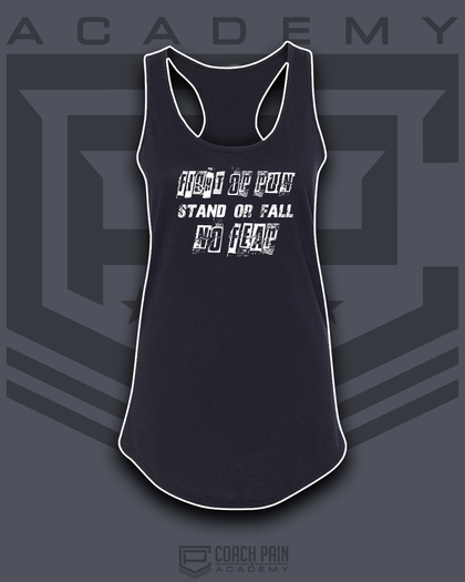 Fight or Run Stand or Fall NO FEAR Women's Racerback Tank