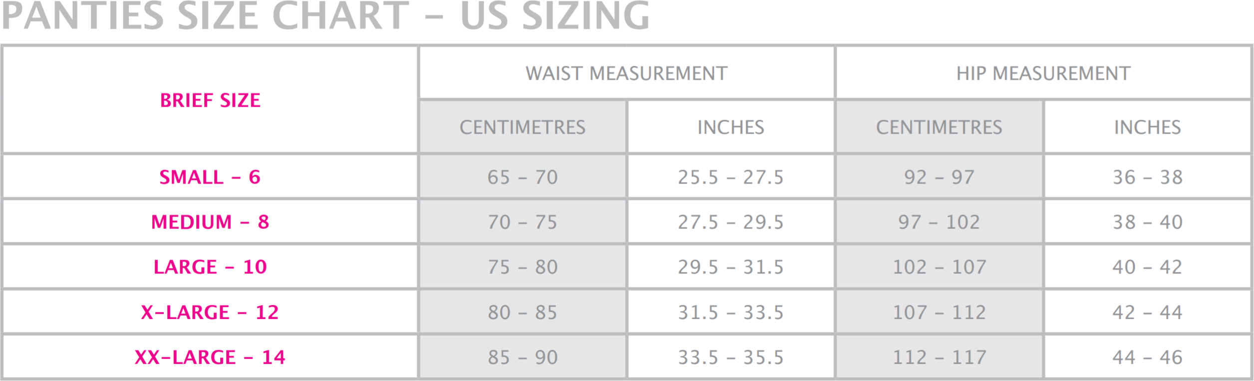 Maternity and nursing pyjama size guide