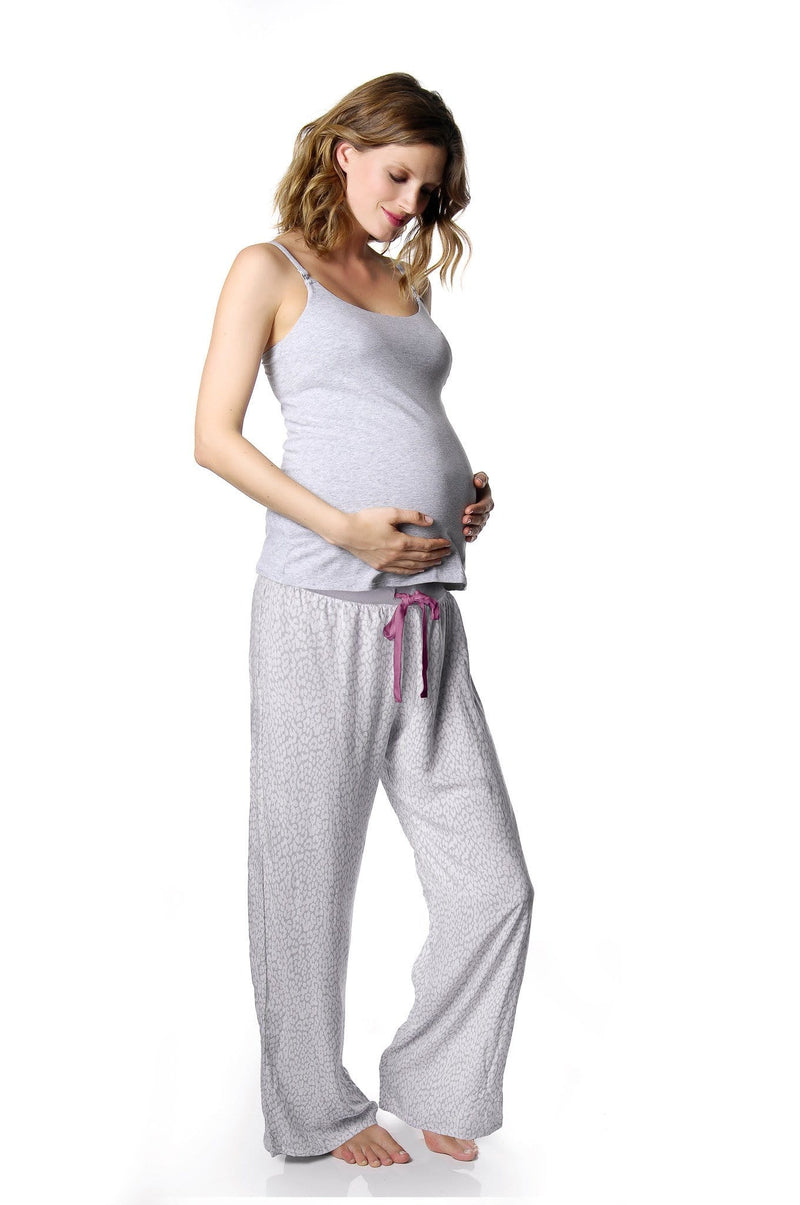 HOTMILK LEOPARD PJ PANT WITH MY EVERYDAY CAMISOLE GREY