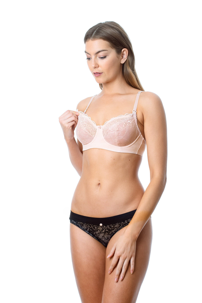 Temptation Powder Hotmilk nursing bra and black bikini
