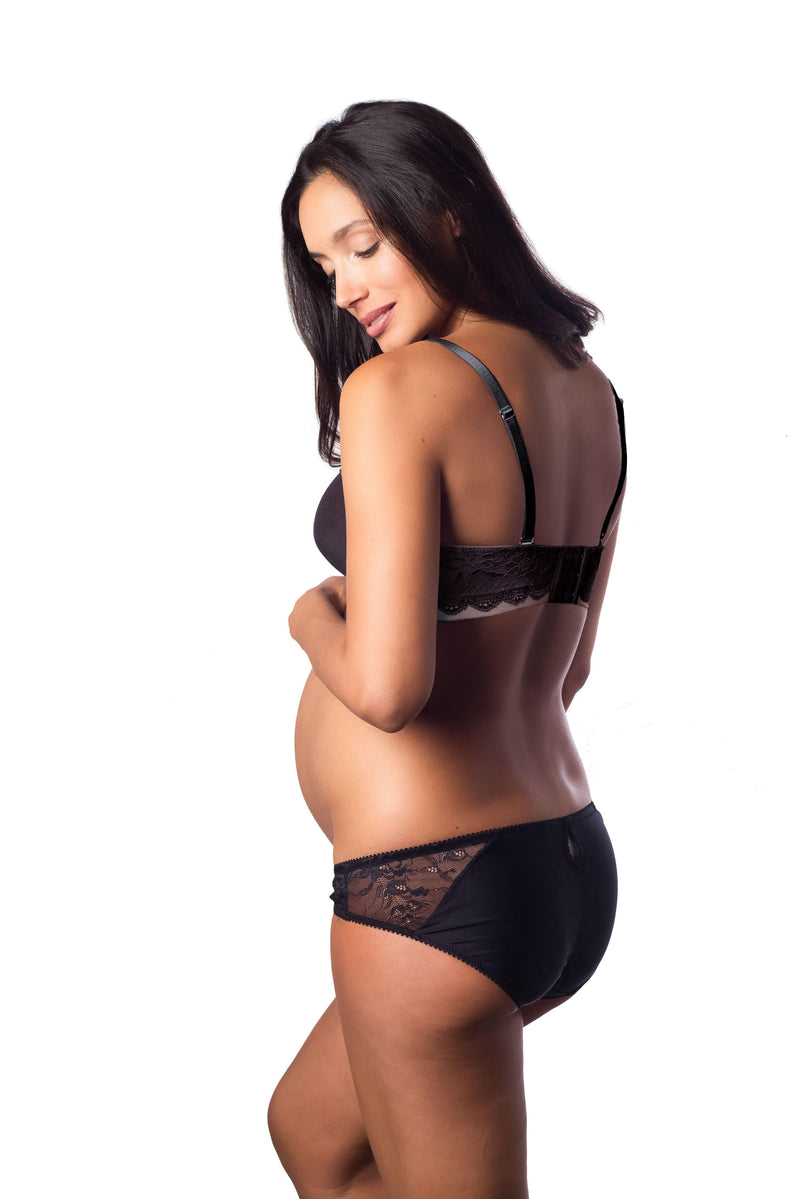 HOTMILK FOREVER YOURS LACE BLACK CONTOUR PREGNANCY NURSING PREGNANCY BRA - FLEXIWIRE