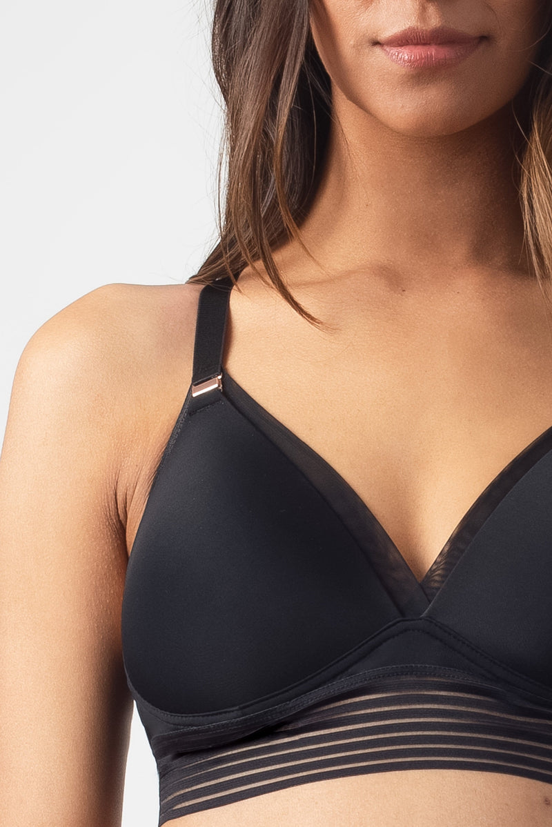 HOTMILK PROJECTME AMBITION TRIANGLE BLACK CONTOUR NURSING BREASTFEEDING PREGNANCY BRA - WIREFREE WITH AMBITION BLACK BRAZILIAN BRIEF