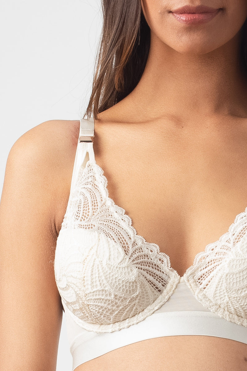 HOTMILK PROJECTME WARRIOR PLUNGE IVORY CONTOUR NURSING BREASTFEEDING PREGNANCY BRA - FLEXI UNDERWIRE