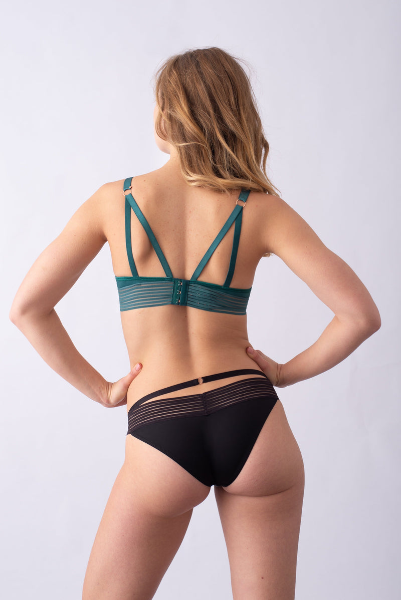 AMBITION PLUNGE DARK GREEN CONTOUR NURSING BRA - FLEXI UNDERWIRE